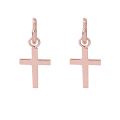 14K Gold Cross Charm Dangle Huggie Hoop Earrings