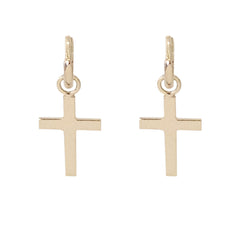 14K Gold Cross Charm Dangle Huggie Hoop Earrings ~ In Stock!