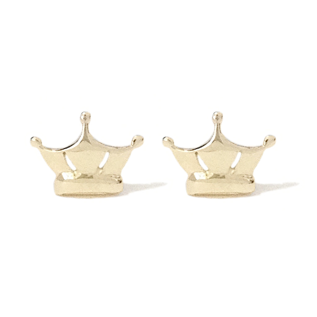 14K Gold Crown Stud Earrings
