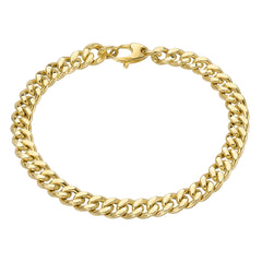 14K Gold Flat Cuban Link Chain Bracelet, 6mm Size Links ~ In Stock!