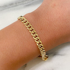 14K Gold Flat Cuban Link Chain Bracelet, 6mm Size Links
