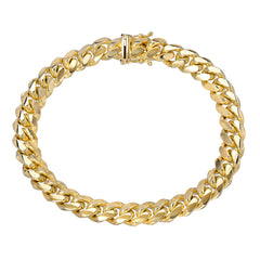 14K Gold Miami Cuban Link Chain Bracelet, 8mm Size Links