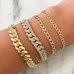 14K Gold Open Curb Link Chain Bracelet, Small Size Links ~ In Stock!