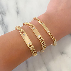 14K Gold Cuban Link Bar Chain Bracelet, Small Size Links