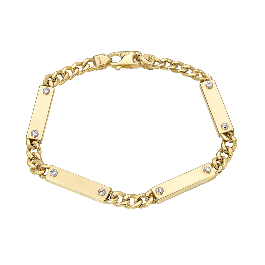 14K Gold Cuban Link Bar Chain Bracelet, Small Size Links ~ In Stock!