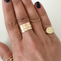 14K Gold Cushion Square Signet Ring