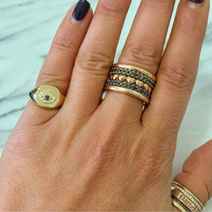 14K Gold Diamond Evil Eye Cushion Square Signet Ring