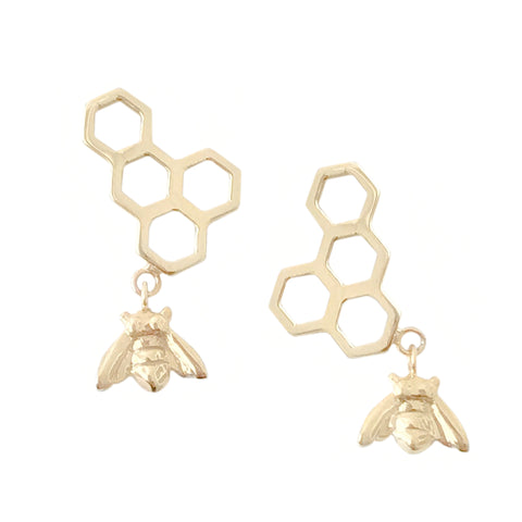 14K Gold Honeycomb Dangle Bee Climber Stud Earrings