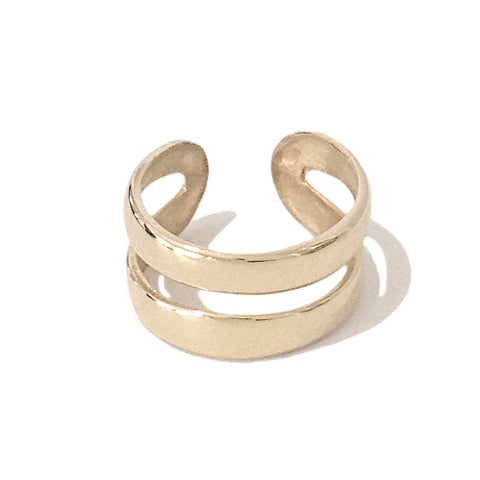14K Gold Double Hoop Round Ear Cuff ~ In Stock!