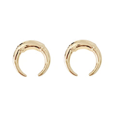 14K Gold Double Horn Stud Earrings