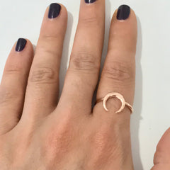 14K Gold Double Horn Ring