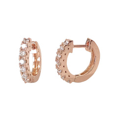 14K Gold Diamond Thick Huggie Hoop Earrings (11mm x 6mm) ~ In Stock!