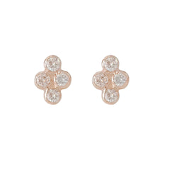 14K Gold Diamond Ball Quartet Cluster Stud Earrings