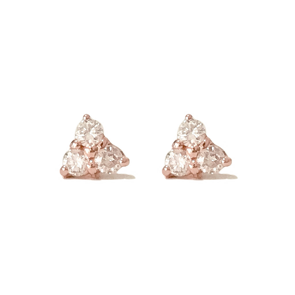 14K Gold Triple Diamond Trinity Cluster Stud Earrings