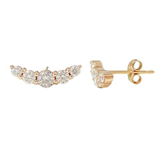 14K Gold Diamond Crescent Climber Stud Earrings