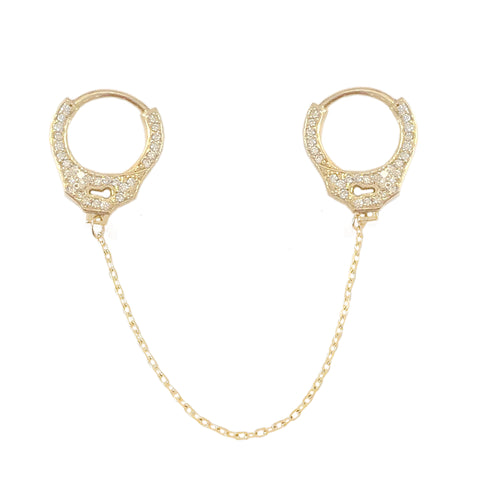 14K Gold Pavé Diamond Double Handcuff Huggie Hoop Earrings ~ In Stock!