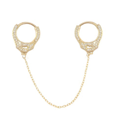 14K Gold Pavé Diamond Double Handcuff Huggie Hoop Earrings