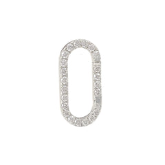 14K Gold Diamond Elongated Oval Charm Enhancer, Large Size ~ In Stock!