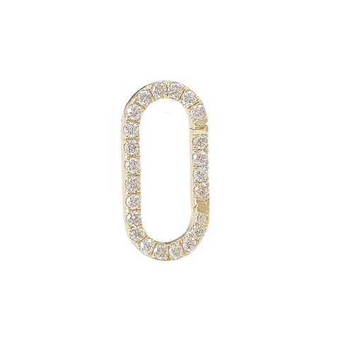 14K Gold Diamond Elongated Oval Charm Enhancer ~ Large Size