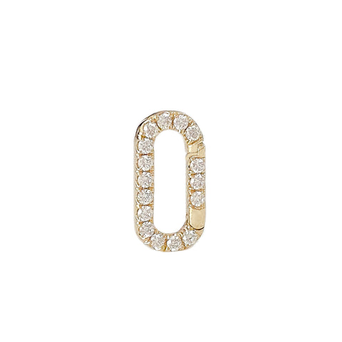 14K Gold Diamond Elongated Oval Charm Enhancer, Small Size ~ In Stock!