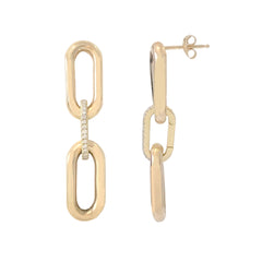 14K Gold Pavé Diamond Enhancer & Thick Oval Link Chain Convertible Dangle Stud Earrings, Large Size Links