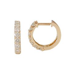 14K Gold Diamond Thick Huggie Hoop Earrings (11.5mm x 8.25mm)