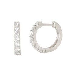14K Gold & Diamond Thick Huggie Hoop Earrings (11.5mm x 8.25mm) ~ In Stock!