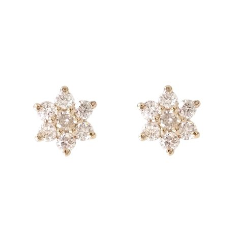14K Gold & Diamond Rosebud Flower Stud Earrings