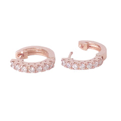 14K Gold & Diamond Thick Huggie Hoop Earrings (11.5mm x 8.25mm)