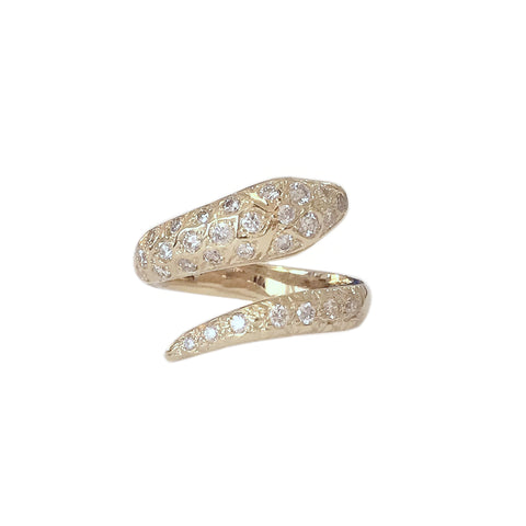14K Gold Diamond Snake Wrap Bypass Ring
