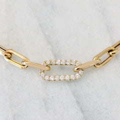 14K Gold Diamond Thick Oval Link Bracelet ~ Small Links