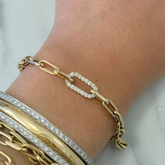14K Gold Diamond Thick Oval Link Bracelet, Small Links ~ In Stock!