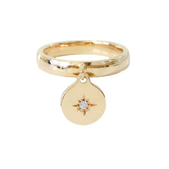 14K Gold Star Set Diamond Round Charm Ring