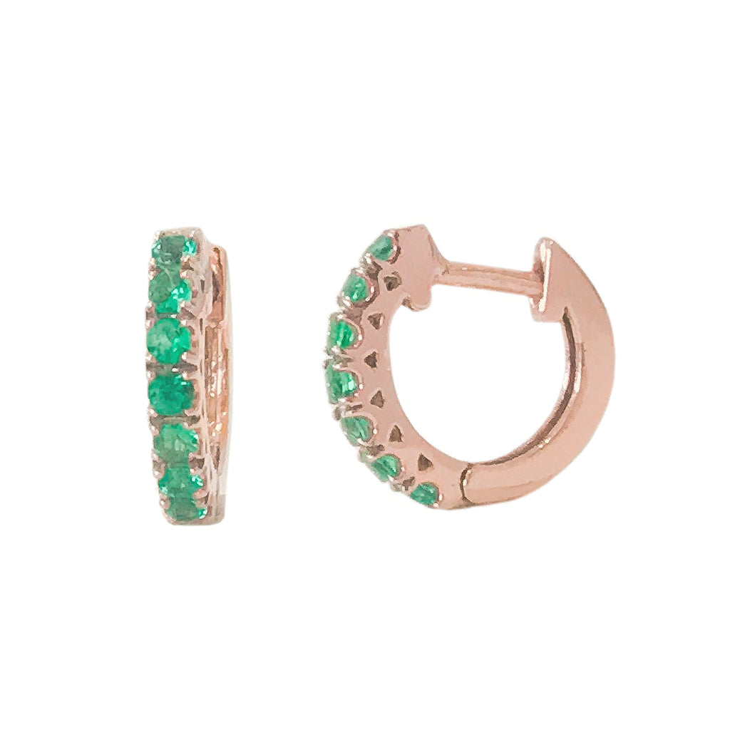 14K Gold Emerald Thick Huggie Hoop Earrings (11mm x 6mm)