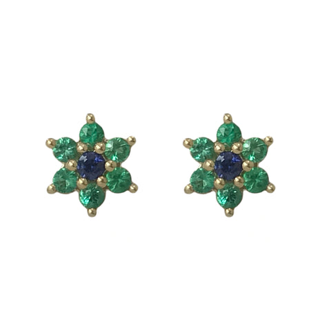 14K Gold Emerald & Sapphire Rosebud Flower Stud Earrings