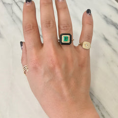Emerald Solitaire Pavé Diamond & Black Onyx Inlay 18K Gold Ring ~ LIMITED EDITION