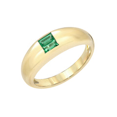 14K Gold Double Emerald Solitaire Domed Stack Ring, LIMITED EDITION ~ In Stock!