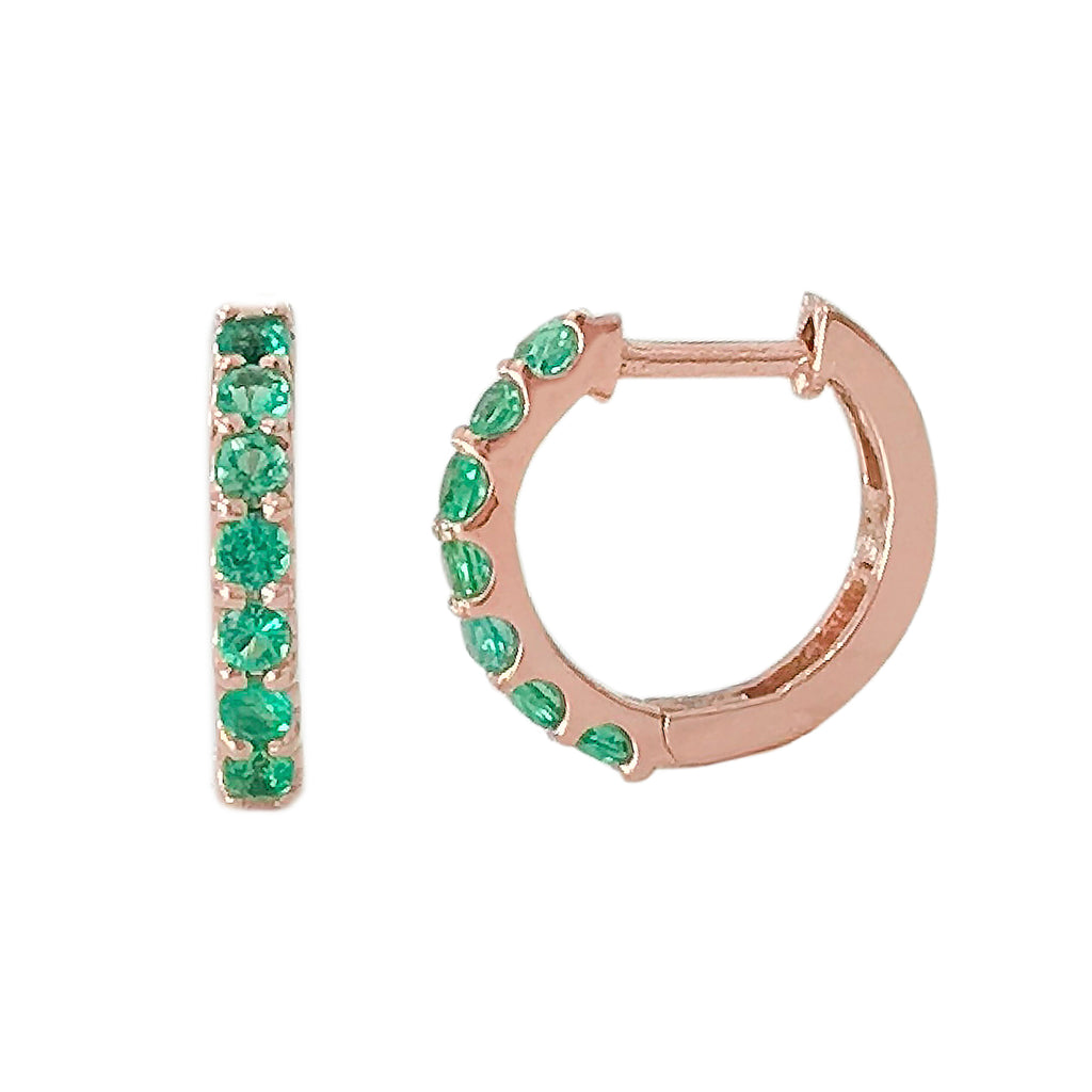 14K Gold Emerald Thick Huggie Hoop Earrings (11.5mm x 8.25mm)
