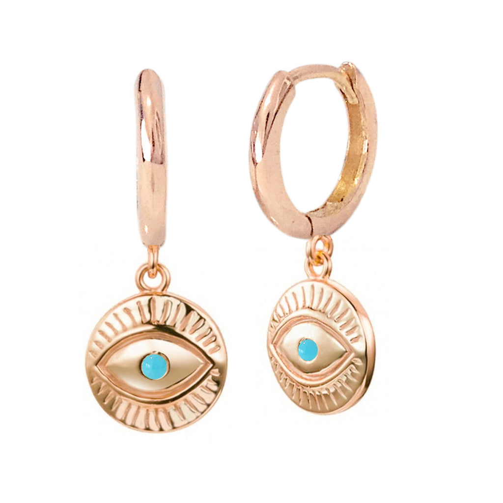 14K Gold Turquoise Evil Eye Dangle Huggie Hoop Charm Earrings ~ All Hoop Sizes