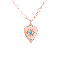 14K Gold Single Diamond Detail Evil Eye Heart Medallion Necklace, Available with Turquoise, Ruby or Sapphire Centerstone