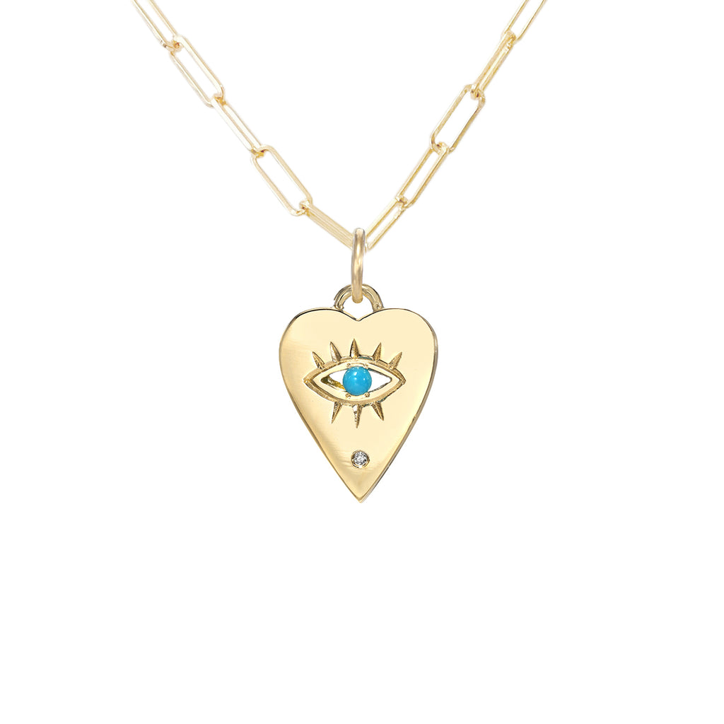14K Gold Single Diamond Detail Evil Eye Heart Medallion Necklace, Available with Turquoise, Ruby or Sapphire Center-Stone ~ In Stock!