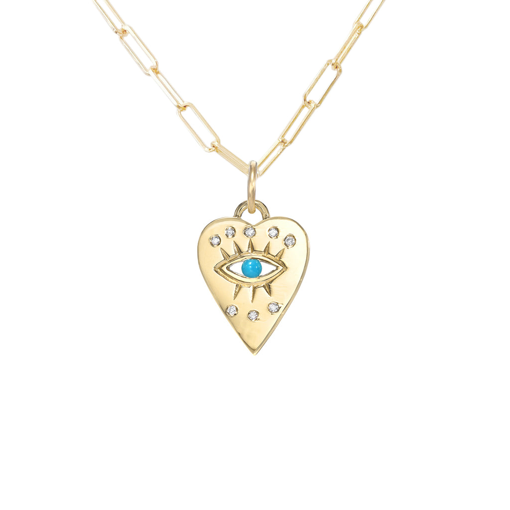 14K Gold 7 Diamond Detail Evil Eye Heart Medallion Necklace, Available with Turquoise, Ruby or Sapphire Centerstone