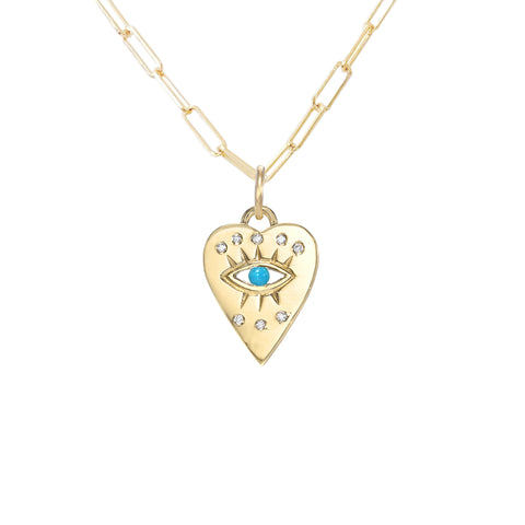 14K Gold 8 Diamond Detail Evil Eye Heart Medallion Necklace, Available with Turquoise, Ruby or Sapphire Centerstone
