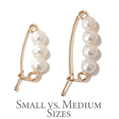White Freshwater Pearl & 14K Gold Medium Size Safety Pin Earring