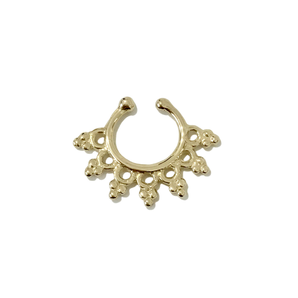 14K Gold Boho Filigree Hoop Septum Cuff