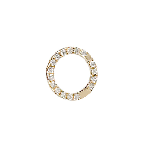 14K Gold Diamond Circular Charm Enhancer