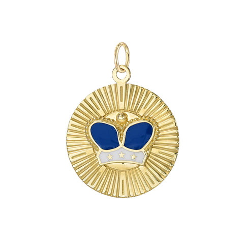 14K Gold Enameled Crown Fluted Medallion Necklace