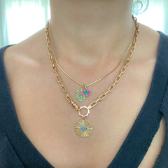14K Gold Turquoise & Hot Pink Sapphire Fluted Evil Eye Medallion Necklace ~ In Stock!