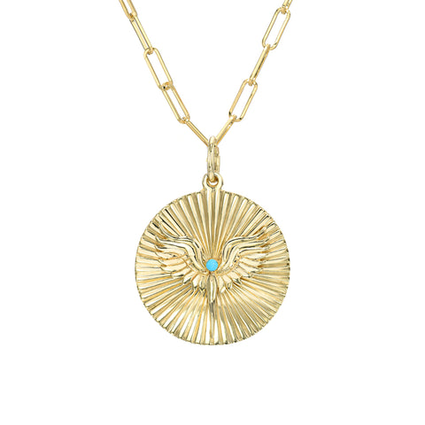 14K Gold Turquoise Fluted Fairy Medallion Necklace