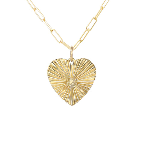 14K Gold Fluted Heart Medallion Necklace